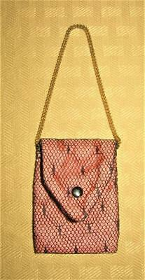 Vintage Madame Alexander ? Cissy ? Vogue ? Pink & Black Lace Gold Chain Purse!