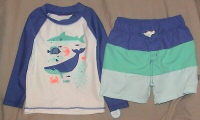Carter's Swim Trunks & Matching Top-Blue/sealife-Upf50+-Size 24 Months-Nwt