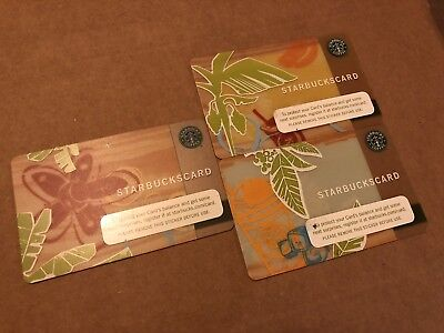 Starbucks Gift Card 2006 Set Of 3 Tropical Flower Palm And Frap Rare!!!