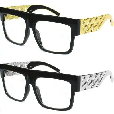 0bb52973b17 CLASSIC RETRO VINTAGE Clear Lens Eye Glasses Big Bold Aviator Chain Link  Frame