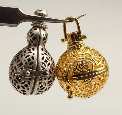 2 Rare Chinese Gilt Tibetan Silver Ball Pendant Incense Decoration Hollow Out