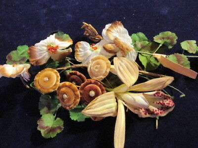 "Vtg Shabby Millinery Flower Collection 1-4"" Green Tan Orchid Velvet German H2355"