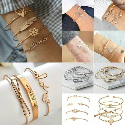 Fashion Women Bangle Bracelets Set Rhinestone Boho Gold Silver Cuff Jewelry Gift
