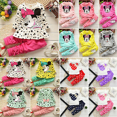 Toddler Baby Kid Girls Clothes Minnie Mouse T Shirt Top + Pants 2PCS Outfits Set