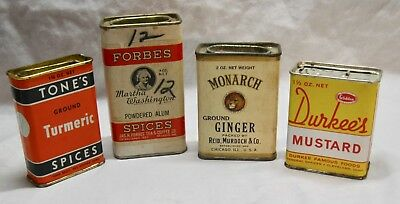 4 Antique Advertising Spice Tins Tone's, Forbes, Monarch & Durkee's
