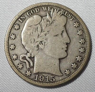 Barber Silver Half Dollar 1915 S Full Liberty Fine Free Shipping