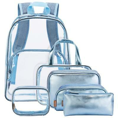 6 in 1 Clear Backpack with Cosmetic Bag PVC Make up Bag Travel Rucksack Bookbag