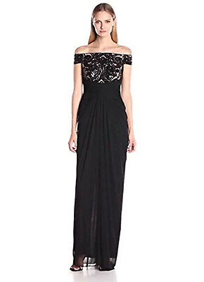 d5286b09de4 Adrianna Papell Women s Off the Shoulder Embroidered Sequin and Tulle Gown