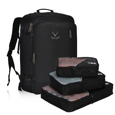 Hynes Eagle 38L Flight Approved Weekender Carry on Backpack + S/3 Packing Cubes