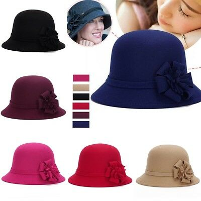 fb69fda47e2d35 Womens Vintage Elegant Cloche Flower Wool Felt Bucket Hat Headwear Church  Cap