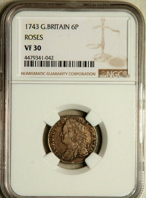 """Ngc Vf-30 Great Britain Silver Sixpence 6 Pence 1743 (""""roses"""")"""