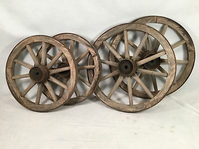 4 VINTAGE WAGON WHEELS  WOOD SPOKES METAL RIMS See Pictures Measurements