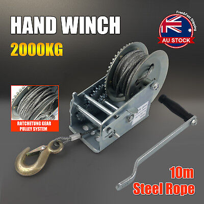 2000KG 10M Hand Winch 2-Speed Synthetic Strap Manual Car Boat Trailer 4WD L