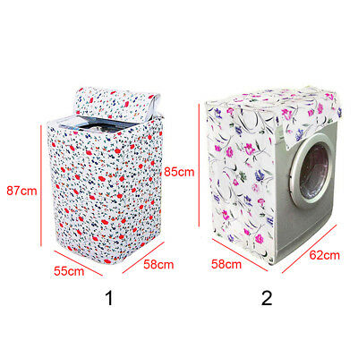 Dustcover Waterproof Zippered Washing Machine Cover Dust Guard Dryer QY