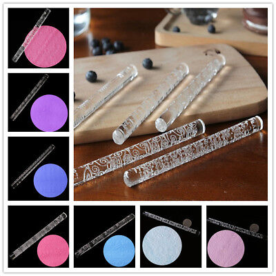 Multi-Patterns Acrylic Embossed Fondant Rolling Pin Cake Decorating Pastry Tools