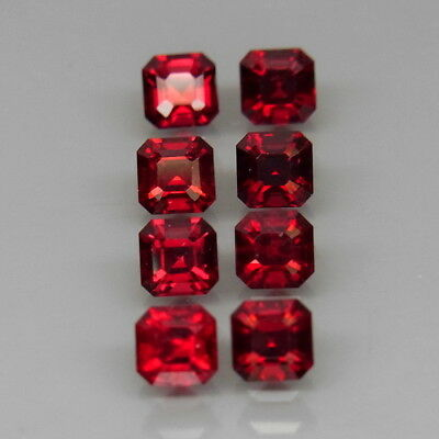 Cushion 3.5x3.5mm.Best Color! Top Noble Red Spinel MaeSai,Thailand 8Pcs/2.27Ct.