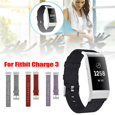 Woven Fabric Canvas Nylon Replacement Watch Strap Wrist Band For Fitbit Charge 3