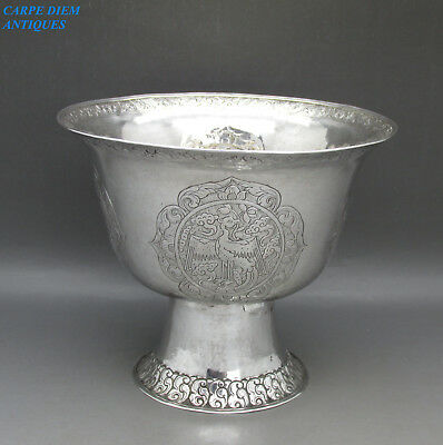 ANTIQUE IMPRESSIVE CHINESE / TIBETAN LARGE SOLID SILVER LIBATION CUP, 247g c1860