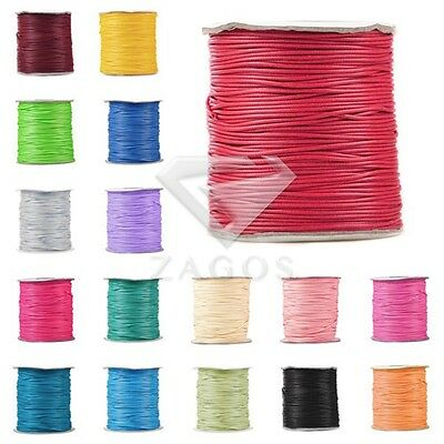 40/80/170m Roll Korea Polyester Waxed Cotton Cord Thong String 1/1.5/2/3mm