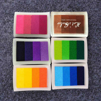 Homemade DIY Gradient Color Ink Pad 6color Inkpad Stamp Fingerprint Scrapbooking
