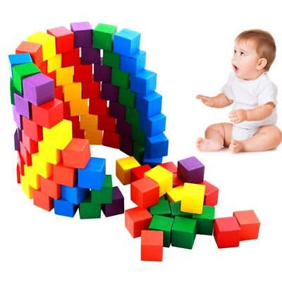 100 Pcs Building Blocks Cube Wooden Squeeze Stack Baby Kids Educational Toy Gift