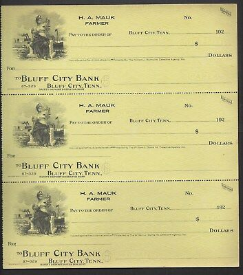 "3 Uncut Bank Checks Bluff City Tennessee 192x ""Maid/Ship"""