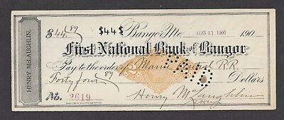 1900 Bangor Maine Bank Check RN-X7 Maine Central RR