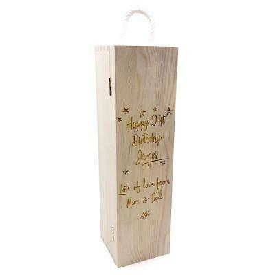 Personalised Gorgeous Any Age Birthday Wooden Wine Bottle Box, Gift STO025-6