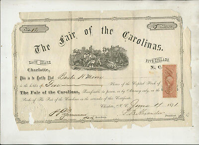 1871 Fair Of The Carolinas Charlotte Nc Stock Certificate #12 Rough Shape & Rare