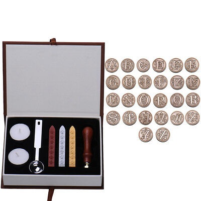 UK Initial Vintage Wax Badge Seal Stamp Wax Alphabet Letters A-Z Kit Set Wedding