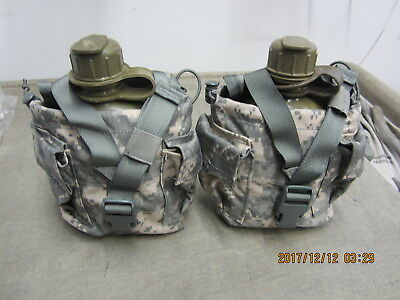 Qty. 2 Molle II Canteen Pouch ACU Very Good Condition Free Ship  NO CANTEENS!!!!