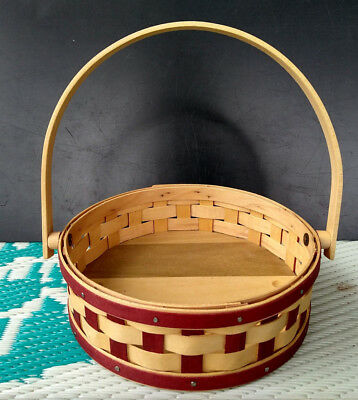 """LONGABERGER 2904 Red-striped Handled 7"""" collectible Basket"""