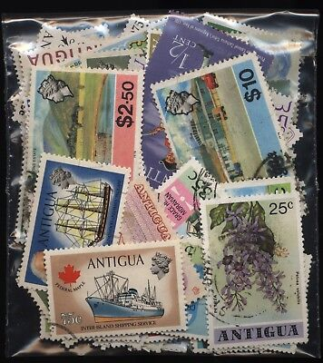 Antigua Bag 100 Stamps Mounted Mint + Used