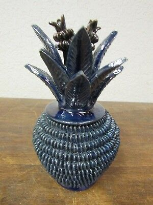 Pina-Pineapple #8-Clay-Mexican Folk Art-Handmade-4.5x8 -Hand Painted-Small-Blue