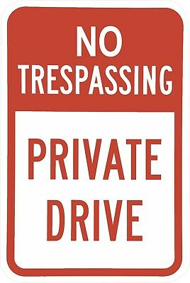Private Property No Trespassing Aluminum Tin Metal 8x12 Red & White Parking Sign