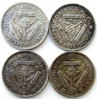 South Africa Coins, Lot Of 4, Threepence 1929 & 1932 & 1933 & 1937, Silver 0.800