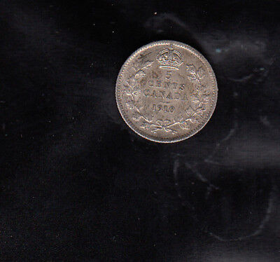 1910 Pointed Leaves Canada Silver 5 Cents