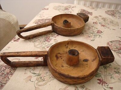 Pair of African Antique Wood Chamberstick Candle Holders with diamond pattern.