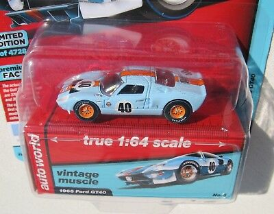 Auto World Vintage Muscle 1965 Ford Gt40 #3 Premium Series Release 4 1 Of 4,728