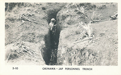 WWII 1945 USMC Okinawa RPPC by Grogan No 3-10 GI in Japanese Personnel Trench