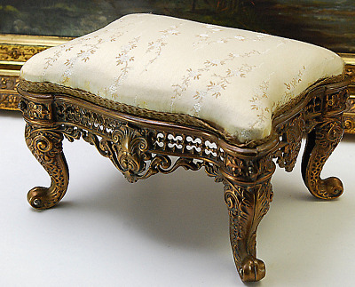 Antique Small French Empire Style Brass Base Foot Stool