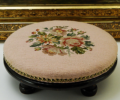 Antique Small Needlepoint  Round Foot Stool