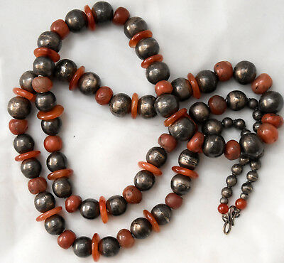 "Antique 900 Silver With Ancient Carnelian Beads Necklace 47"" Long"
