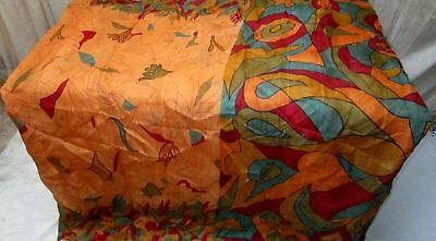 Multi-color Pure Silk 4 yard Vintage Sari Saree Pattern Patterns London #9BU98