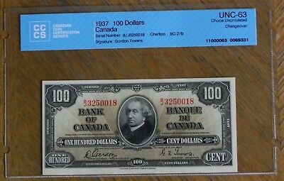 Scarce 1937 $100 Canadian Bank Note Certified UNC-63 Choice UNC Changeover