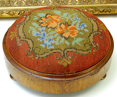 Antique Small Victorian Needlepoint Foot Stool