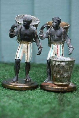 "Superb Pair ""antique"" Spelter Cold Painted Blackamoor Figures With Baskets"