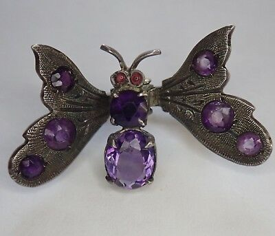 Antique Victorian Sterling Silver Genuine Amethyst Butterfly Pin