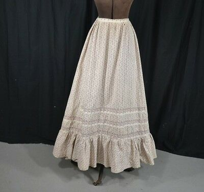 skirt Civil War Era cotton calico print early original very good 19th c 1800