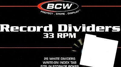 15 33 1/3 RPM Record Dividers Index Tab for 12 Inch Album Storage Boxes BCW